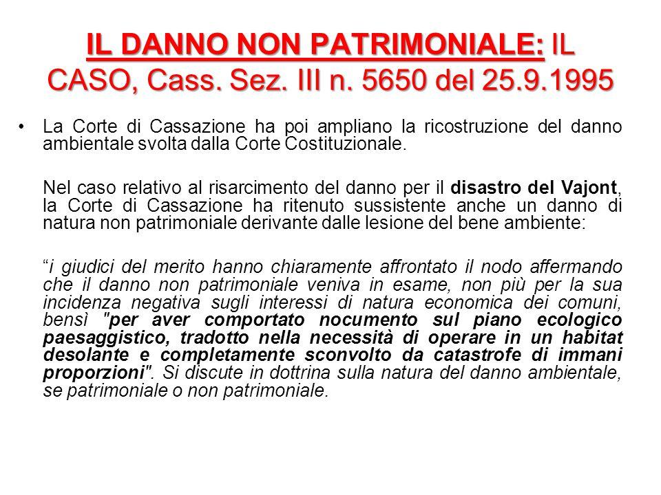 IL DANNO NON PATRIMONIALE: IL CASO, Cass. Sez. III n. 5650 del 25.9.1995 La Corte di Cassazione ha poi ampliano la ricostruzione del danno ambientale