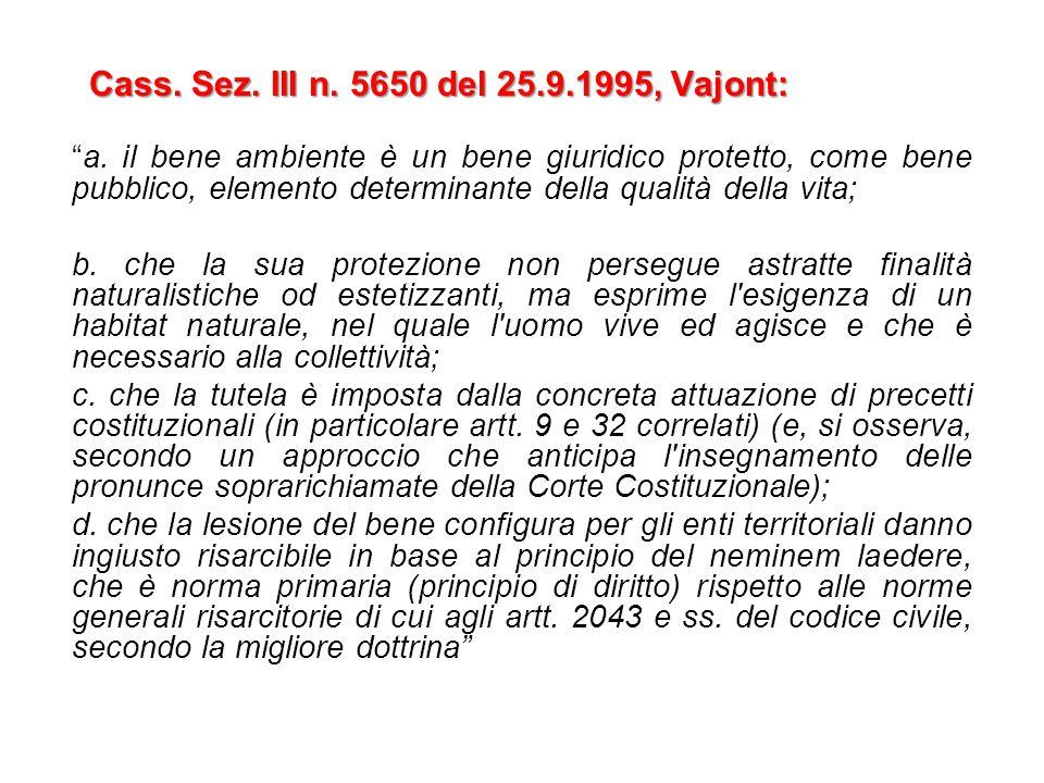 """Cass. Sez. III n. 5650 del 25.9.1995, Vajont: """"a. il bene ambiente è un bene giuridico protetto, come bene pubblico, elemento determinante della quali"""