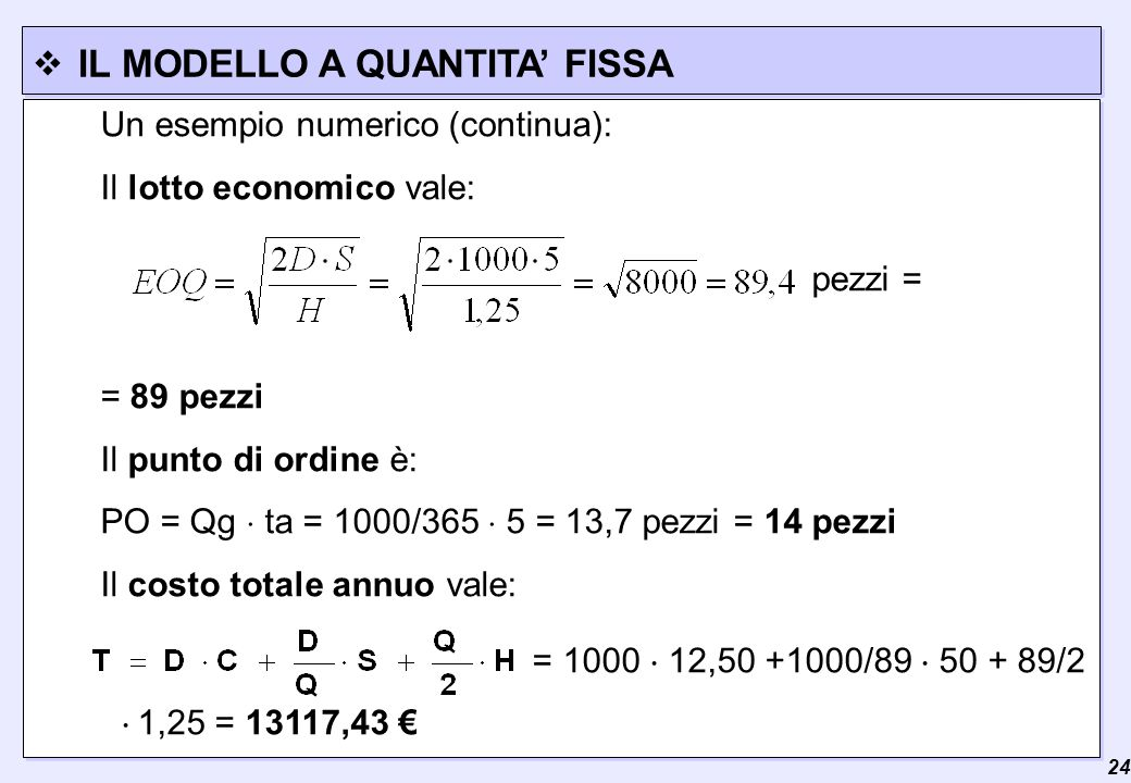  24 IL MODELLO A QUANTITA' FISSA Un esempio numerico (continua): Il lotto economico vale: pezzi = = 89 pezzi Il punto di ordine è: PO = Qg  ta = 1000/365  5 = 13,7 pezzi = 14 pezzi Il costo totale annuo vale: = 1000  12,50 +1000/89  50 + 89/2  1,25 = 13117,43 €