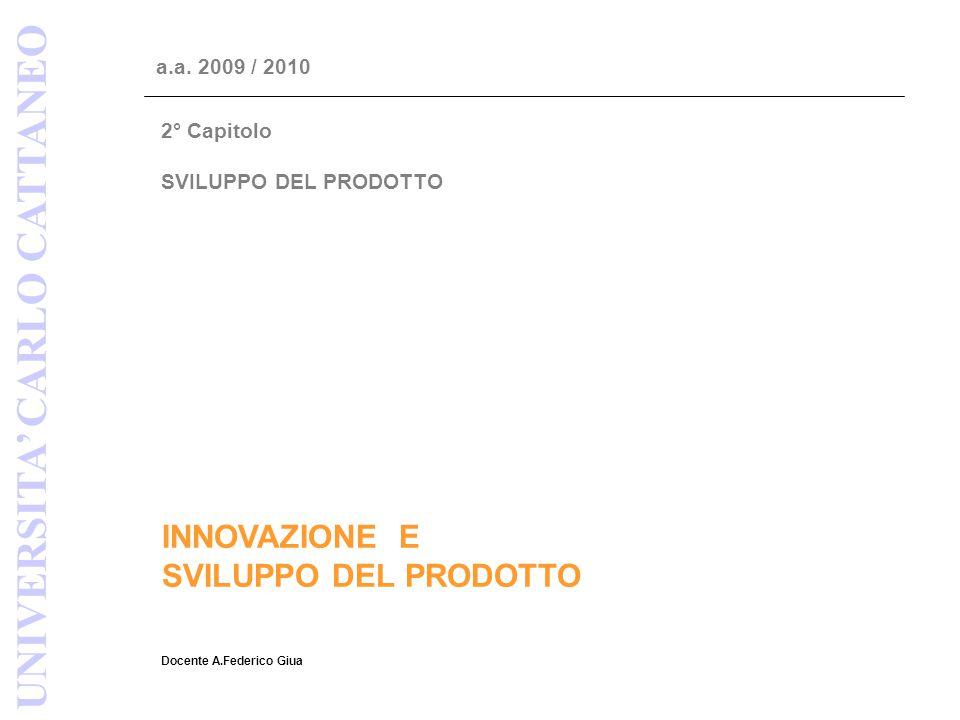 INNOVAZIONE E SVILUPPO DEL PRODOTTO Docente A.Federico Giua UNIVERSITA' CARLO CATTANEO a.a. 2009 / 2010 2° Capitolo SVILUPPO DEL PRODOTTO