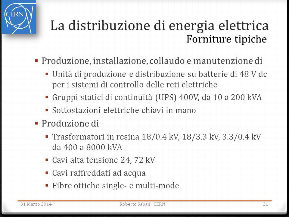 La distribuzione di energia elettrica 31 Marzo 2014Roberto Saban - CERN21 Forniture tipiche  Produzione, installazione, collaudo e manutenzione di 