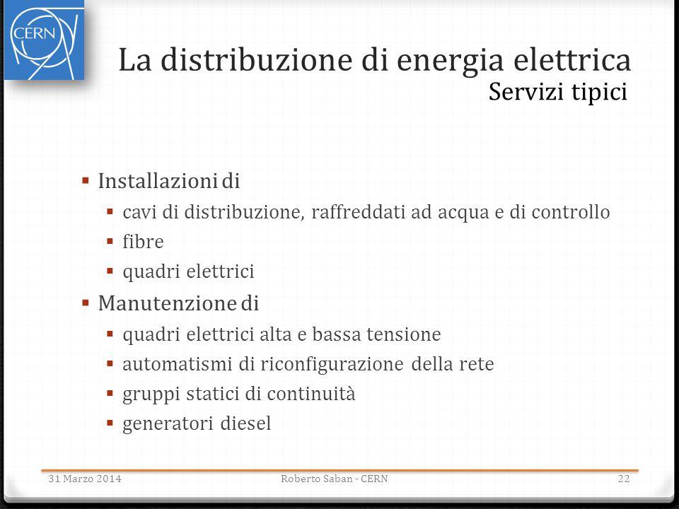 La distribuzione di energia elettrica 31 Marzo 2014Roberto Saban - CERN22 Servizi tipici  Installazioni di  cavi di distribuzione, raffreddati ad ac
