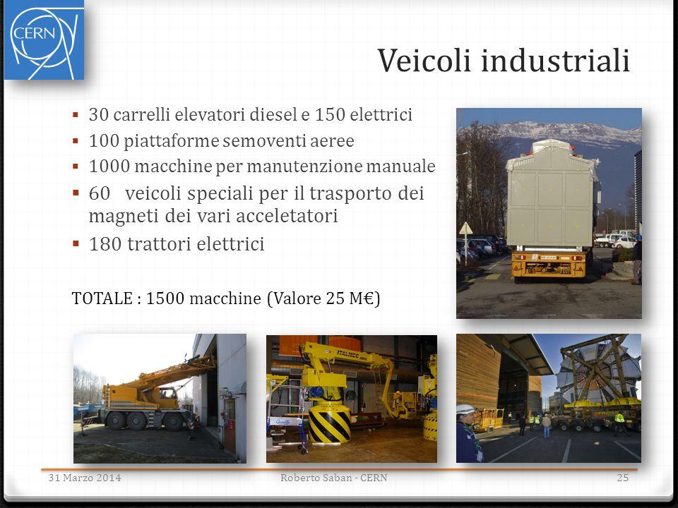 Veicoli industriali  30 carrelli elevatori diesel e 150 elettrici  100 piattaforme semoventi aeree  1000 macchine per manutenzione manuale  60 vei