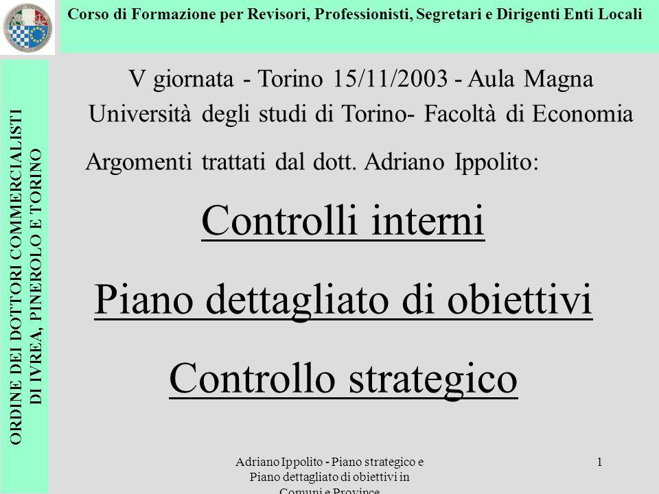 Adriano Ippolito - Piano strategico e Piano dettagliato di obiettivi in Comuni e Province 1 Controlli interni Piano dettagliato di obiettivi Controllo
