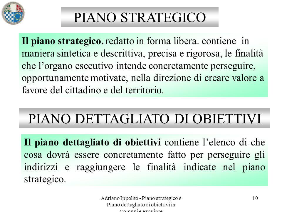 10 PIANO STRATEGICO PIANO DETTAGLIATO DI OBIETTIVI Il piano strategico. redatto in forma libera. contiene in maniera sintetica e descrittiva, precisa