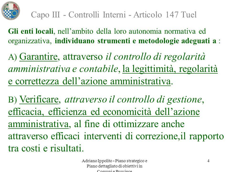 Adriano Ippolito - Piano strategico e Piano dettagliato di obiettivi in Comuni e Province 4 Capo III - Controlli Interni - Articolo 147 Tuel Gli enti