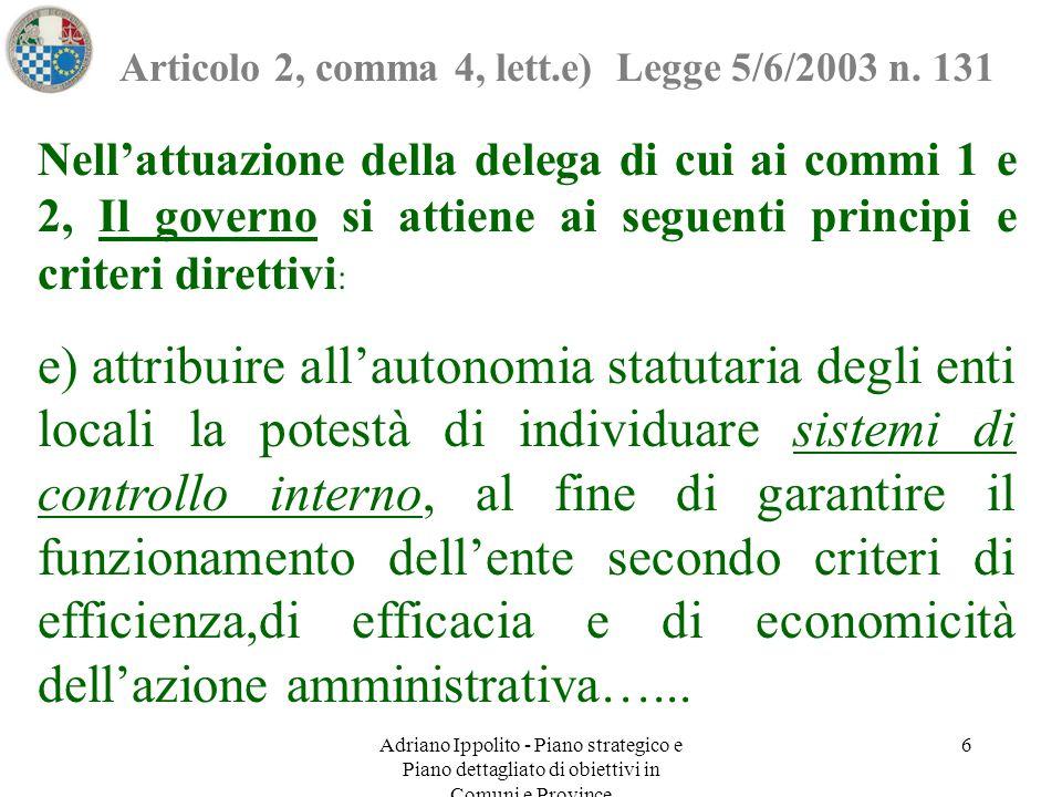 Adriano Ippolito - Piano strategico e Piano dettagliato di obiettivi in Comuni e Province 6 Articolo 2, comma 4, lett.e) Legge 5/6/2003 n. 131 Nell'at