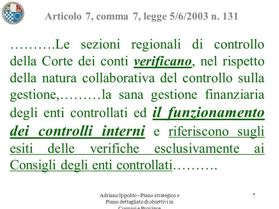 Adriano Ippolito - Piano strategico e Piano dettagliato di obiettivi in Comuni e Province 7 Articolo 7, comma 7, legge 5/6/2003 n. 131 ……….Le sezioni