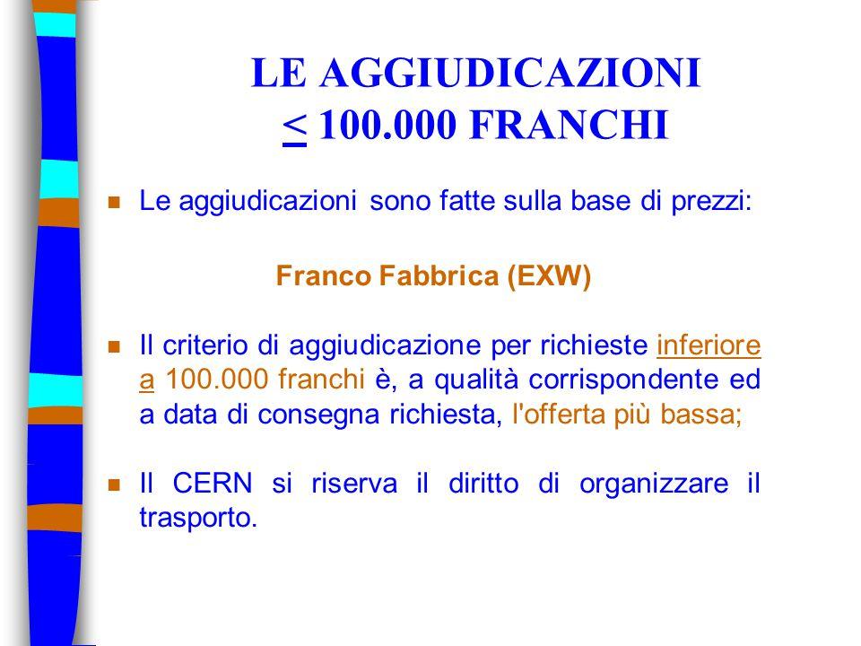 LE AGGIUDICAZIONI < 100.000 FRANCHI n Le aggiudicazioni sono fatte sulla base di prezzi: Franco Fabbrica (EXW) n Il criterio di aggiudicazione per richieste inferiore a 100.000 franchi è, a qualità corrispondente ed a data di consegna richiesta, l offerta più bassa; n Il CERN si riserva il diritto di organizzare il trasporto.