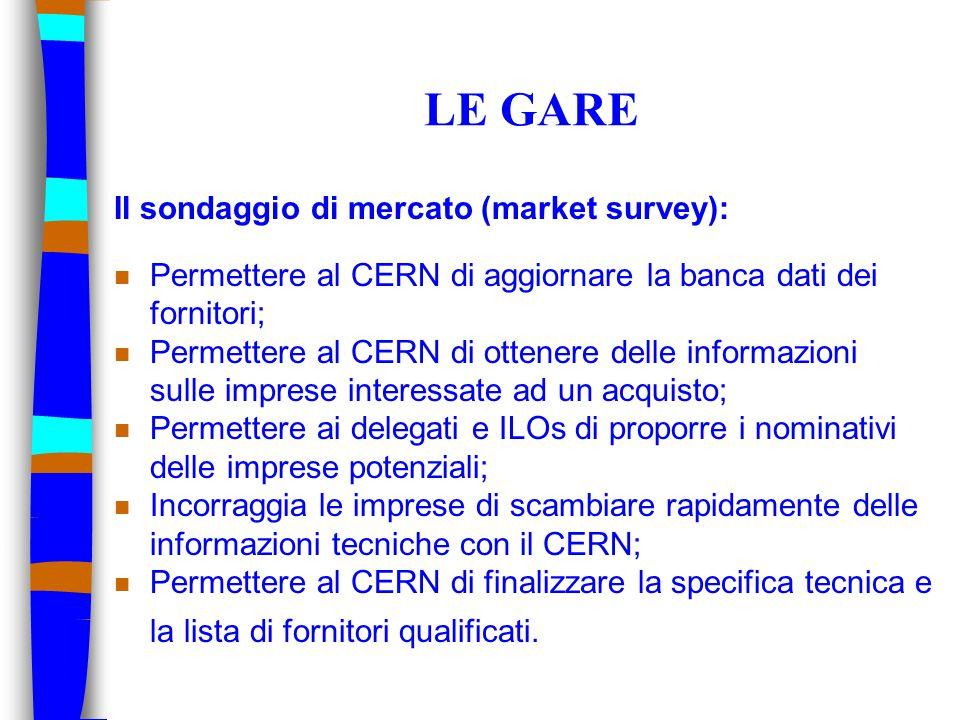 LE GARE Il sondaggio di mercato (market survey): n Permettere al CERN di aggiornare la banca dati dei fornitori; n Permettere al CERN di ottenere delle informazioni sulle imprese interessate ad un acquisto; n Permettere ai delegati e ILOs di proporre i nominativi delle imprese potenziali; n Incorraggia le imprese di scambiare rapidamente delle informazioni tecniche con il CERN; n Permettere al CERN di finalizzare la specifica tecnica e la lista di fornitori qualificati.