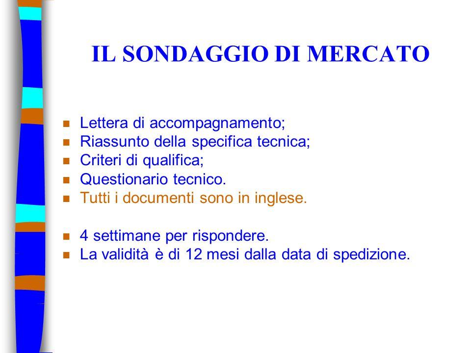 IL SONDAGGIO DI MERCATO n Lettera di accompagnamento; n Riassunto della specifica tecnica; n Criteri di qualifica; n Questionario tecnico.