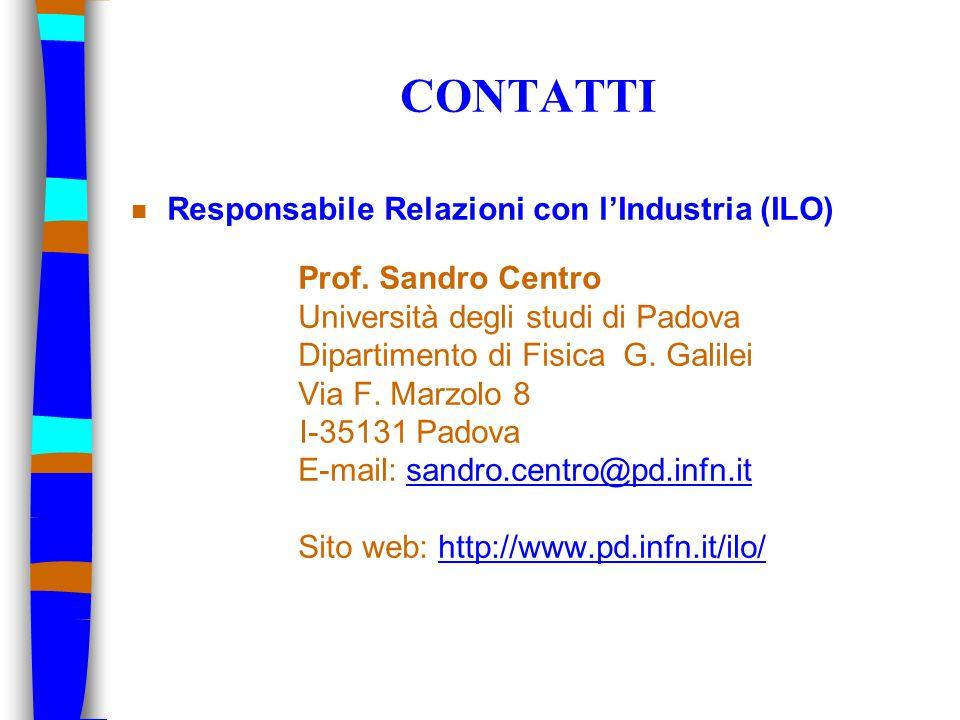 CONTATTI n Responsabile Relazioni con l'Industria (ILO) Prof. Sandro Centro Università degli studi di Padova Dipartimento di Fisica G. Galilei Via F.