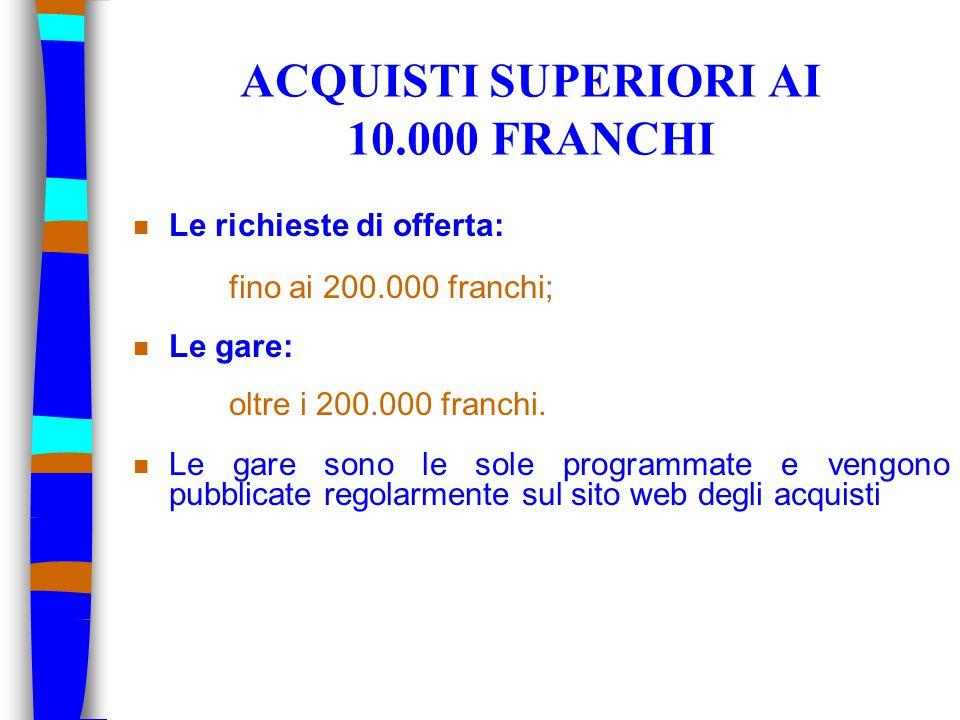 ACQUISTI SUPERIORI AI 10.000 FRANCHI n Le richieste di offerta: fino ai 200.000 franchi; n Le gare: oltre i 200.000 franchi. n Le gare sono le sole pr