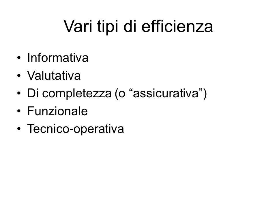 Vari tipi di efficienza Informativa Valutativa Di completezza (o assicurativa ) Funzionale Tecnico-operativa