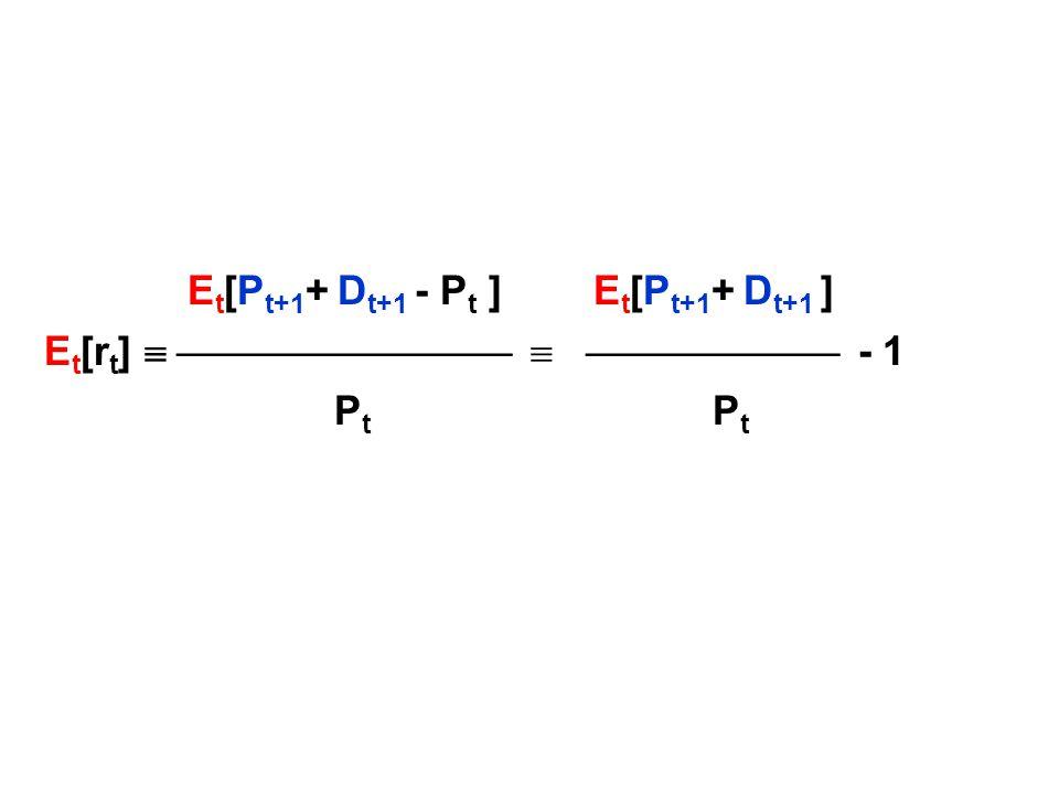 E t [P t+1 + D t+1 - P t ] E t [P t+1 + D t+1 ] E t [r t ]     - 1 P t P t