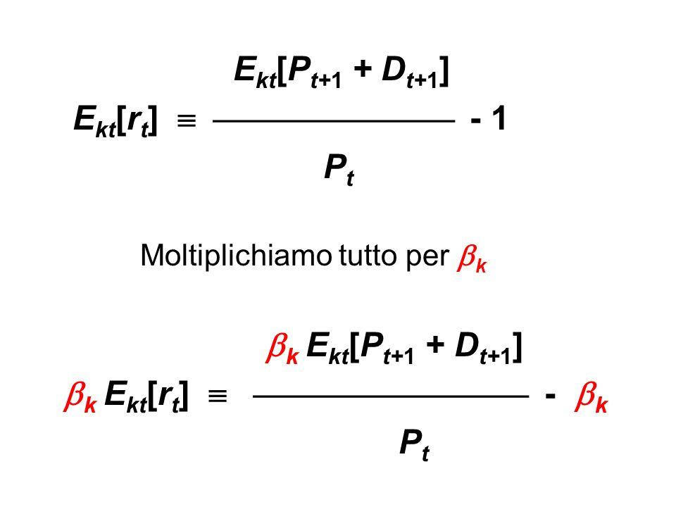 E kt [P t+1 + D t+1 ] E kt [r t ]   - 1 P t Moltiplichiamo tutto per  k  k E kt [P t+1 + D t+1 ]  k E kt [r t ]   -  k P t