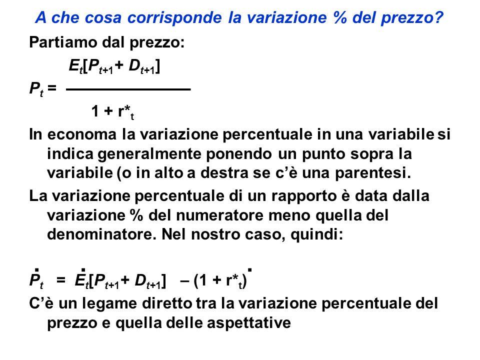 A che cosa corrisponde la variazione % del prezzo? Partiamo dal prezzo: E t [P t+1 + D t+1 ] P t = 1 + r* t In economa la variazione percentuale in un