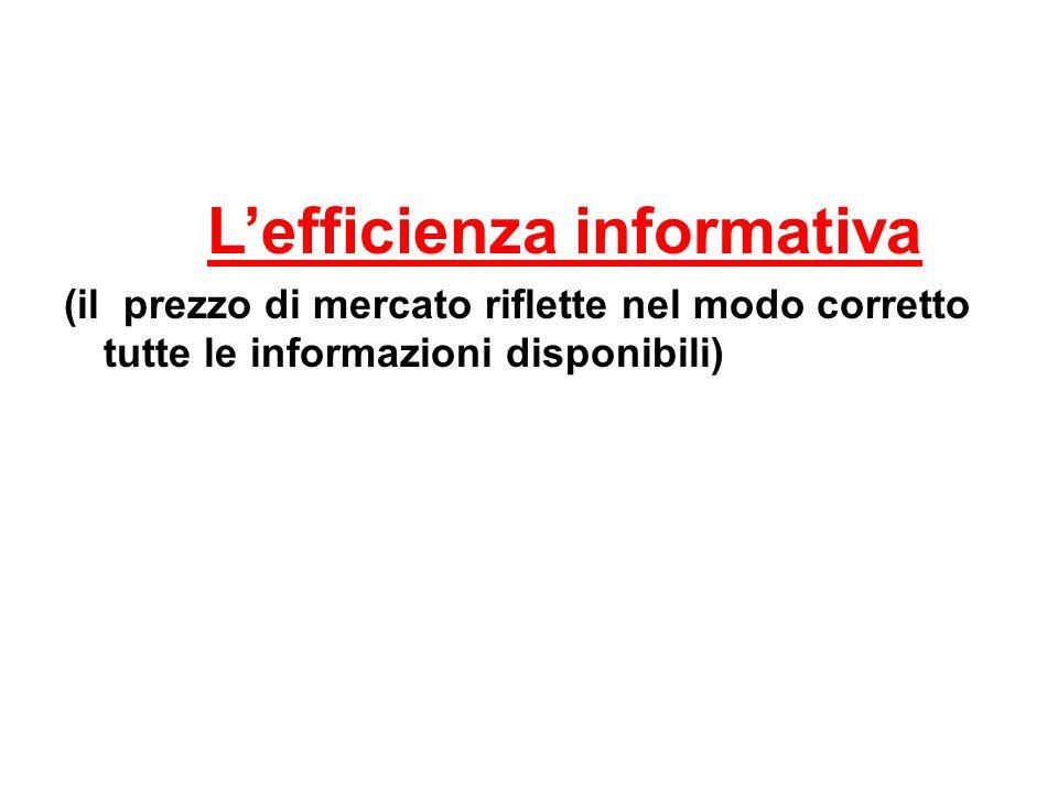 L'efficienza informativa (il prezzo di mercato riflette nel modo corretto tutte le informazioni disponibili)