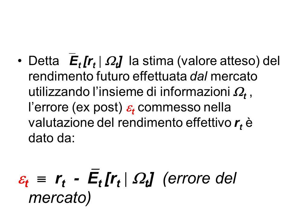 Detta  E t [r t   t ] la stima (valore atteso) del rendimento futuro effettuata dal mercato utilizzando l'insieme di informazioni  t, l'errore (ex