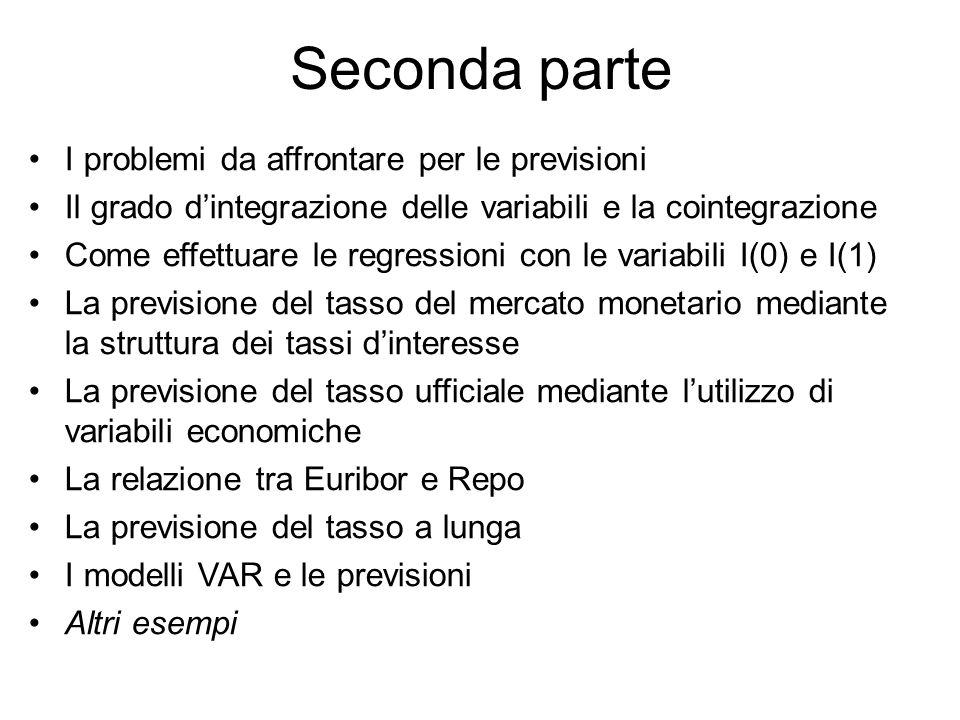Seconda parte I problemi da affrontare per le previsioni Il grado d'integrazione delle variabili e la cointegrazione Come effettuare le regressioni co