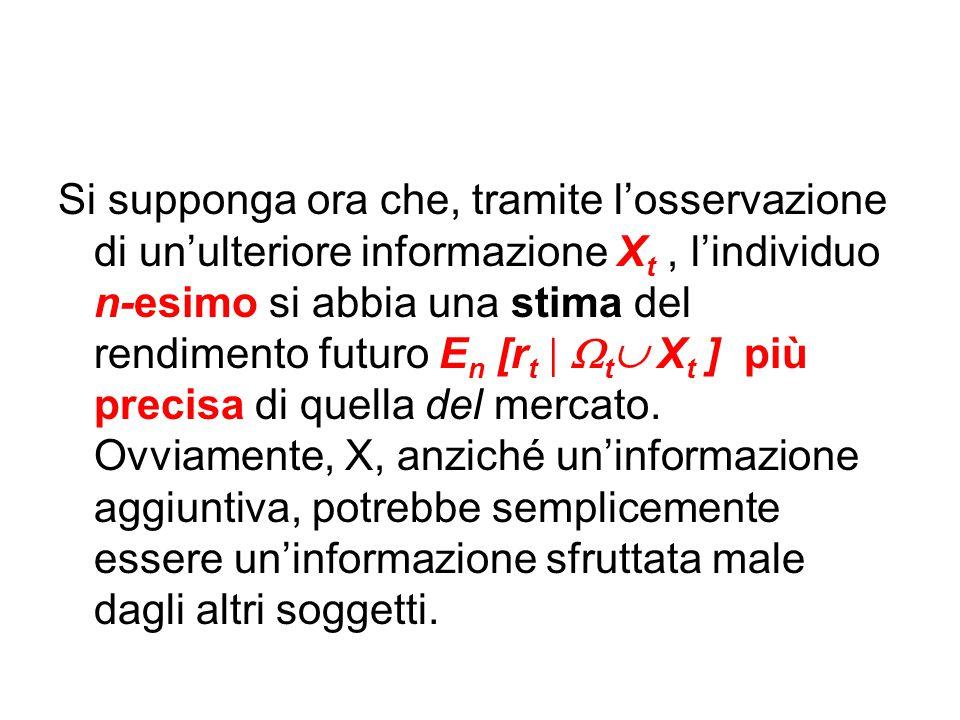Si supponga ora che, tramite l'osservazione di un'ulteriore informazione X t, l'individuo n-esimo si abbia una stima del rendimento futuro E n [r t 
