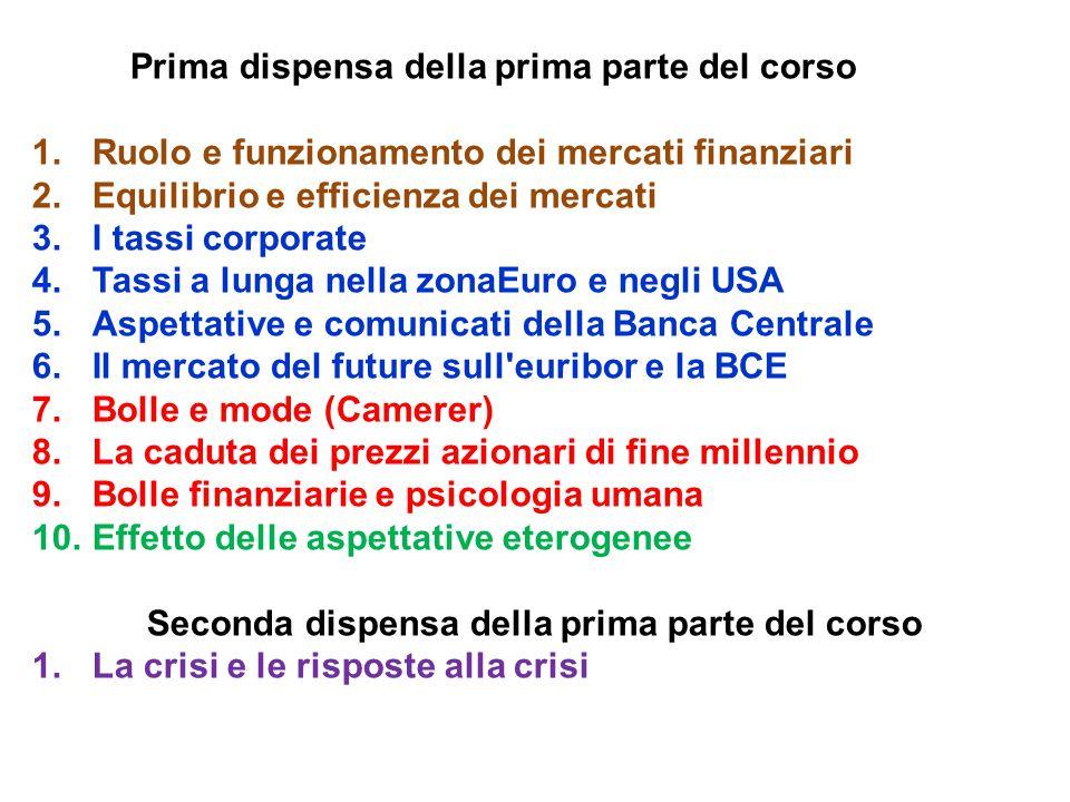 Prima dispensa della prima parte del corso 1.Ruolo e funzionamento dei mercati finanziari 2.Equilibrio e efficienza dei mercati 3.I tassi corporate 4.