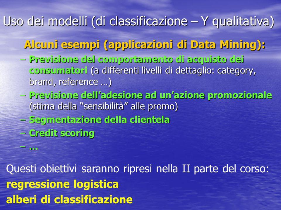 Uso dei modelli (di classificazione – Y qualitativa) Alcuni esempi (applicazioni di Data Mining): –Previsione del comportamento di acquisto dei consumatori (a differenti livelli di dettaglio: category, brand, reference …) –Previsione dell'adesione ad un'azione promozionale (stima della sensibilità alle promo) –Segmentazione della clientela –Credit scoring –… Questi obiettivi saranno ripresi nella II parte del corso: regressione logistica alberi di classificazione