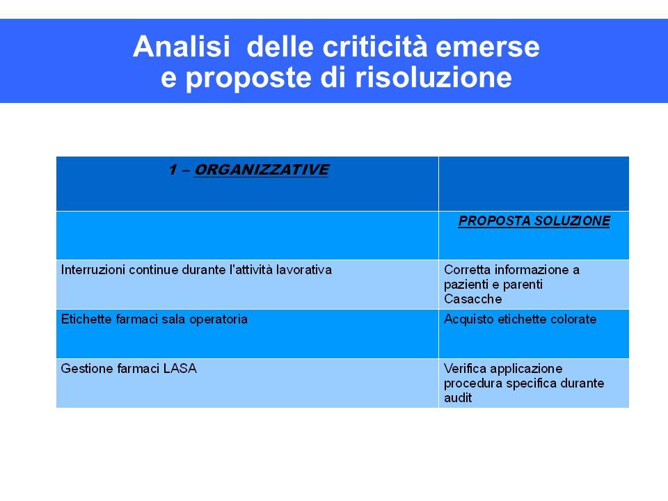 Analisi delle criticità emerse e proposte di risoluzione