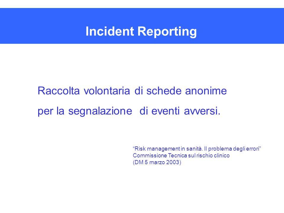 """Incident Reporting Raccolta volontaria di schede anonime per la segnalazione di eventi avversi. """"Risk management in sanità. Il problema degli errori"""""""