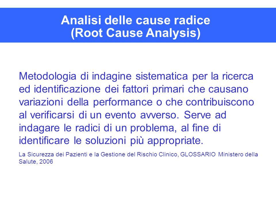 Analisi delle cause radice (Root Cause Analysis) Metodologia di indagine sistematica per la ricerca ed identificazione dei fattori primari che causano