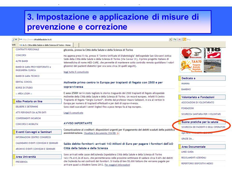 3. Impostazione e applicazione di misure di prevenzione e correzione