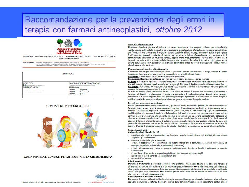 Raccomandazione per la prevenzione degli errori in terapia con farmaci antineoplastici, ottobre 2012 elaborazione procedura aziendale con opuscolo inf
