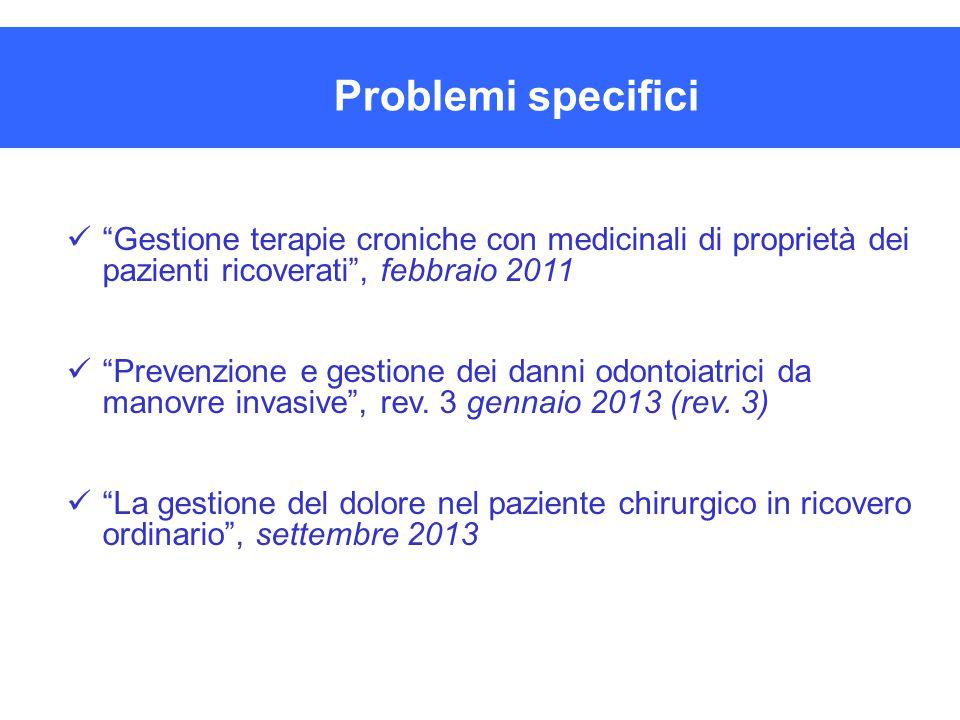 """""""Gestione terapie croniche con medicinali di proprietà dei pazienti ricoverati"""", febbraio 2011 """"Prevenzione e gestione dei danni odontoiatrici da mano"""