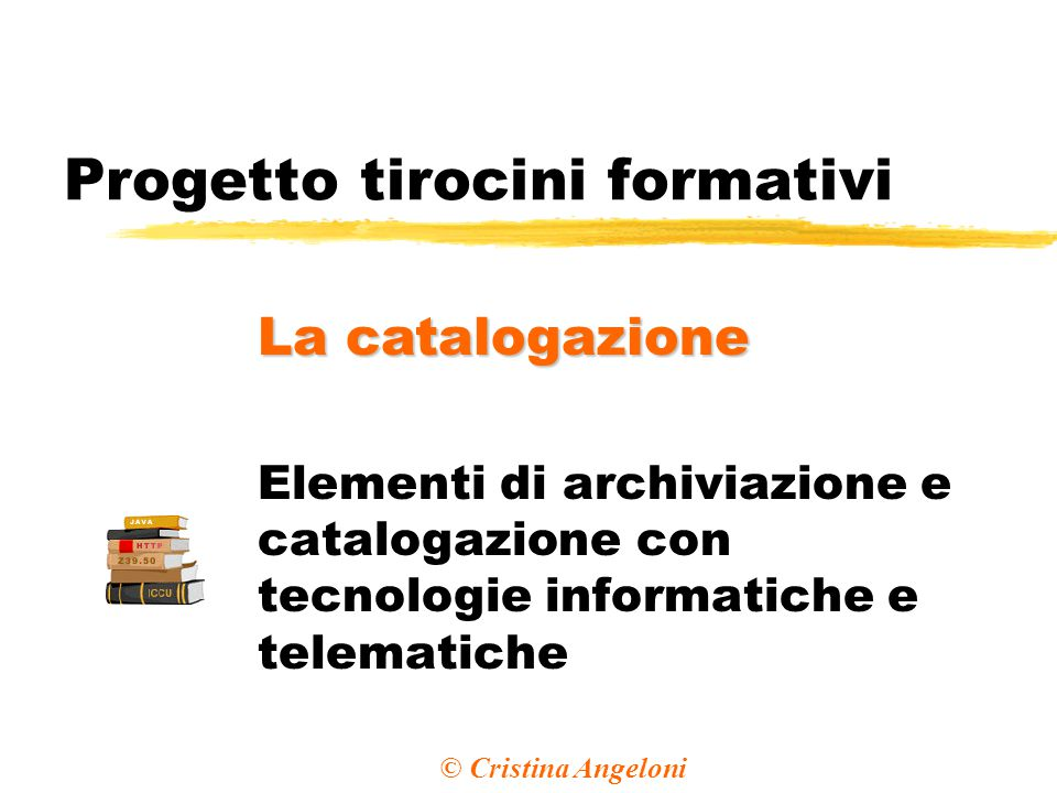 Progetto tirocini formativi Elementi di archiviazione e catalogazione con tecnologie informatiche e telematiche La catalogazione © Cristina Angeloni