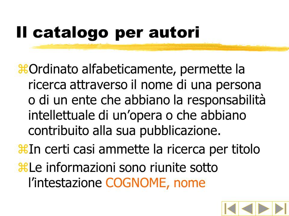 Il catalogo per autori zOrdinato alfabeticamente, permette la ricerca attraverso il nome di una persona o di un ente che abbiano la responsabilità intellettuale di un'opera o che abbiano contribuito alla sua pubblicazione.