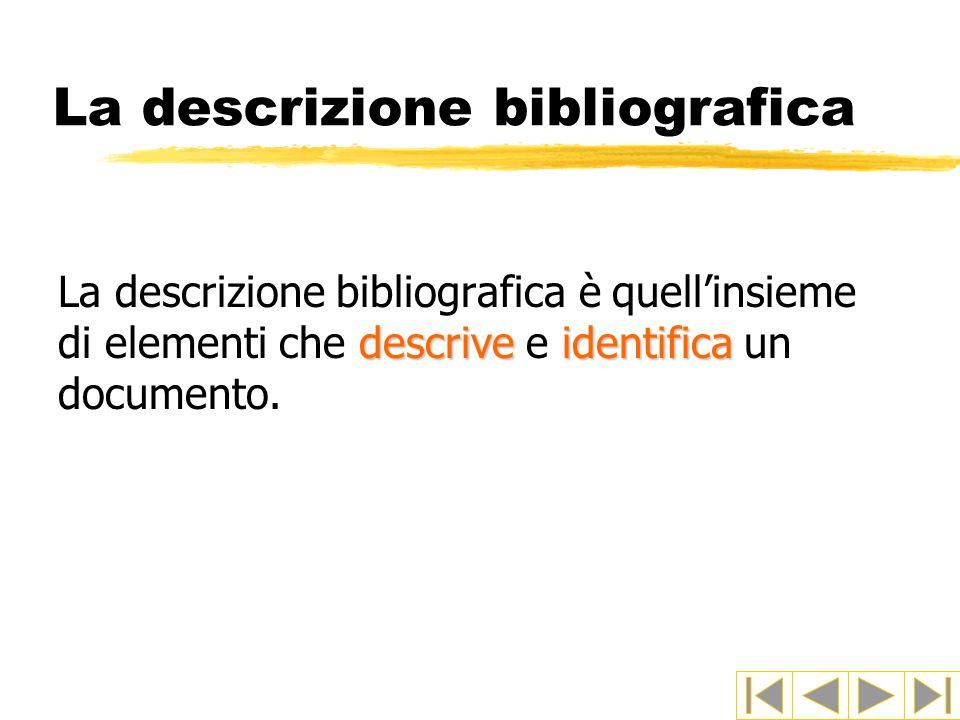 La descrizione bibliografica descriveidentifica La descrizione bibliografica è quell'insieme di elementi che descrive e identifica un documento.