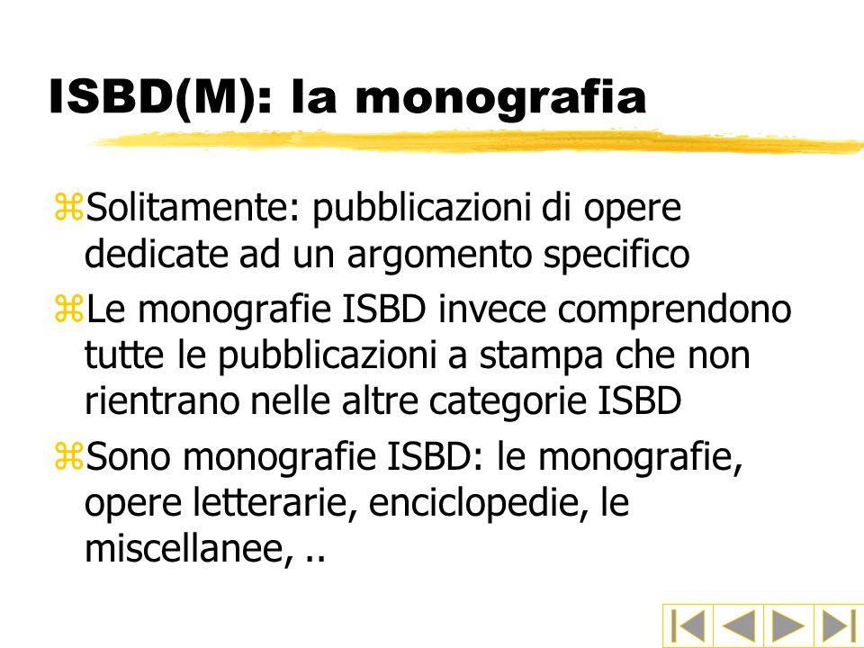 ISBD(M): la monografia zSolitamente: pubblicazioni di opere dedicate ad un argomento specifico zLe monografie ISBD invece comprendono tutte le pubblicazioni a stampa che non rientrano nelle altre categorie ISBD zSono monografie ISBD: le monografie, opere letterarie, enciclopedie, le miscellanee,..