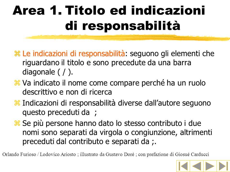 Area 1.Titolo ed indicazioni di responsabilità zLe indicazioni di responsabilità zLe indicazioni di responsabilità: seguono gli elementi che riguardano il titolo e sono precedute da una barra diagonale ( / ).