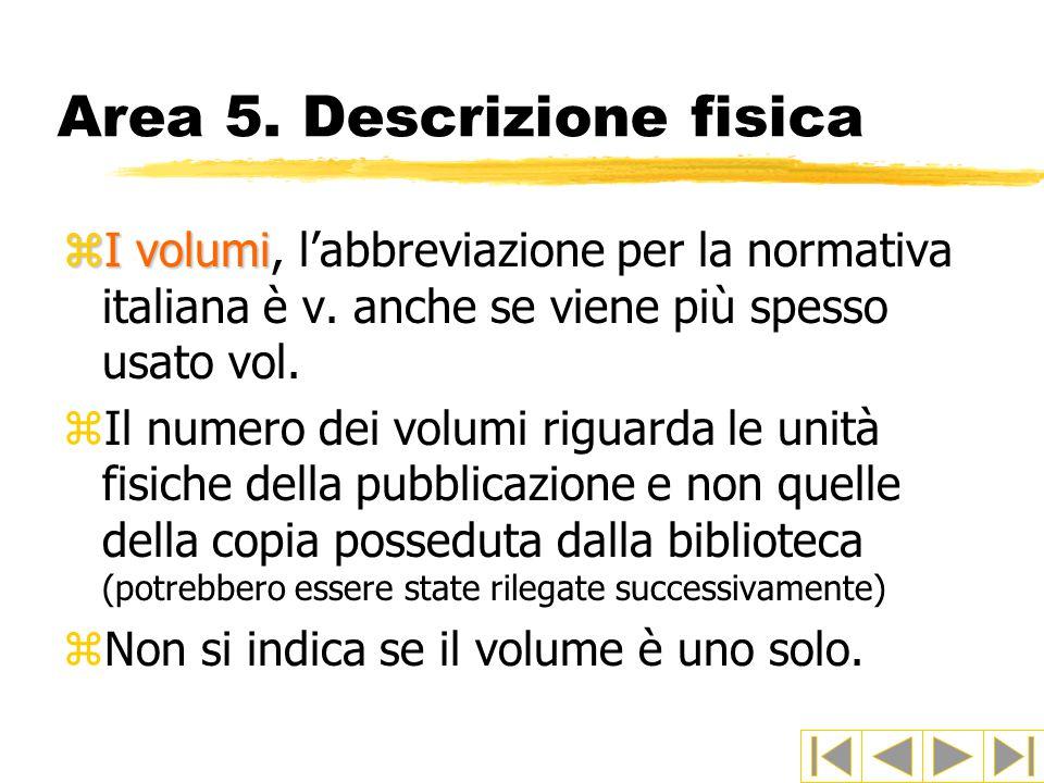 Area 5.Descrizione fisica zI volumi zI volumi, l'abbreviazione per la normativa italiana è v.