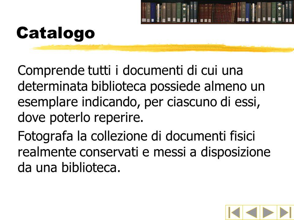 Catalogo Comprende tutti i documenti di cui una determinata biblioteca possiede almeno un esemplare indicando, per ciascuno di essi, dove poterlo reperire.