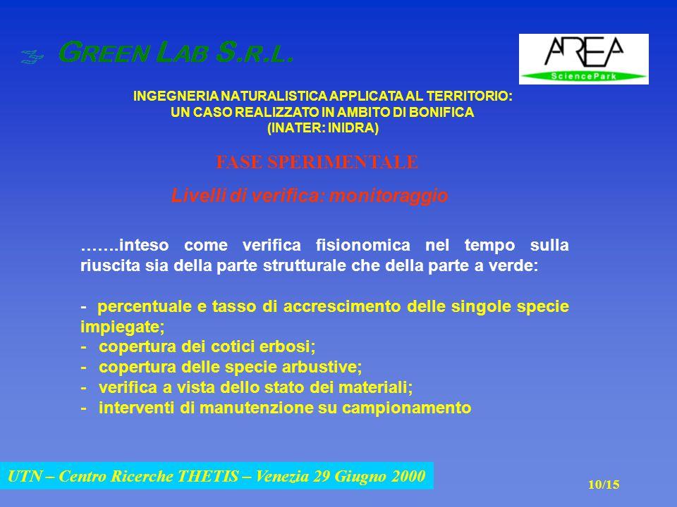 UTN – Centro Ricerche THETIS – Venezia 29 Giugno 2000 INGEGNERIA NATURALISTICA APPLICATA AL TERRITORIO: UN CASO REALIZZATO IN AMBITO DI BONIFICA (INATER: INIDRA) UTN – Centro Ricerche THETIS – Venezia 29 Giugno 2000 …….inteso come verifica fisionomica nel tempo sulla riuscita sia della parte strutturale che della parte a verde: - percentuale e tasso di accrescimento delle singole specie impiegate; - copertura dei cotici erbosi; - copertura delle specie arbustive; - verifica a vista dello stato dei materiali; - interventi di manutenzione su campionamento Livelli di verifica: monitoraggio FASE SPERIMENTALE 10/15