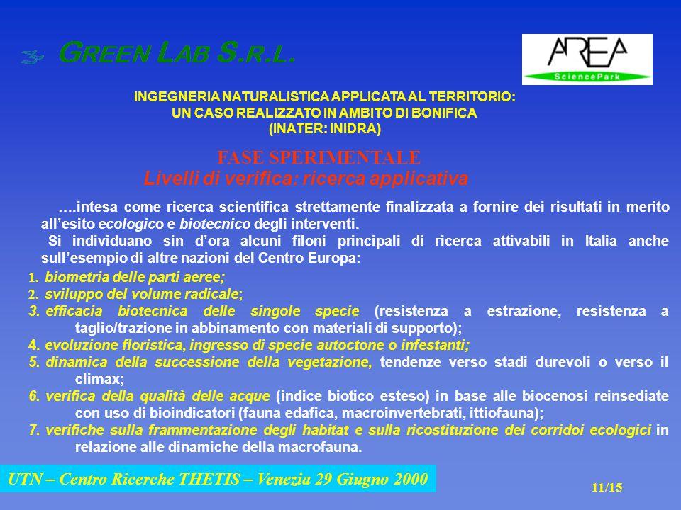 UTN – Centro Ricerche THETIS – Venezia 29 Giugno 2000 INGEGNERIA NATURALISTICA APPLICATA AL TERRITORIO: UN CASO REALIZZATO IN AMBITO DI BONIFICA (INATER: INIDRA) UTN – Centro Ricerche THETIS – Venezia 29 Giugno 2000 Livelli di verifica: ricerca applicativa ….intesa come ricerca scientifica strettamente finalizzata a fornire dei risultati in merito all'esito ecologico e biotecnico degli interventi.