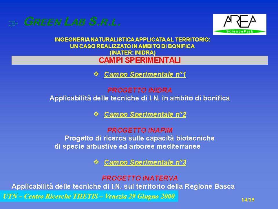UTN – Centro Ricerche THETIS – Venezia 29 Giugno 2000 INGEGNERIA NATURALISTICA APPLICATA AL TERRITORIO: UN CASO REALIZZATO IN AMBITO DI BONIFICA (INATER: INIDRA) UTN – Centro Ricerche THETIS – Venezia 29 Giugno 2000 14/15