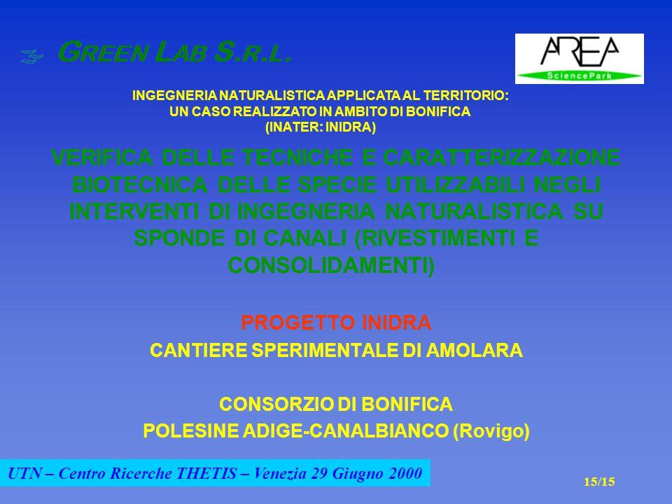 UTN – Centro Ricerche THETIS – Venezia 29 Giugno 2000 VERIFICA DELLE TECNICHE E CARATTERIZZAZIONE BIOTECNICA DELLE SPECIE UTILIZZABILI NEGLI INTERVENTI DI INGEGNERIA NATURALISTICA SU SPONDE DI CANALI (RIVESTIMENTI E CONSOLIDAMENTI) PROGETTO INIDRA CANTIERE SPERIMENTALE DI AMOLARA CONSORZIO DI BONIFICA POLESINE ADIGE-CANALBIANCO (Rovigo) INGEGNERIA NATURALISTICA APPLICATA AL TERRITORIO: UN CASO REALIZZATO IN AMBITO DI BONIFICA (INATER: INIDRA) 15/15