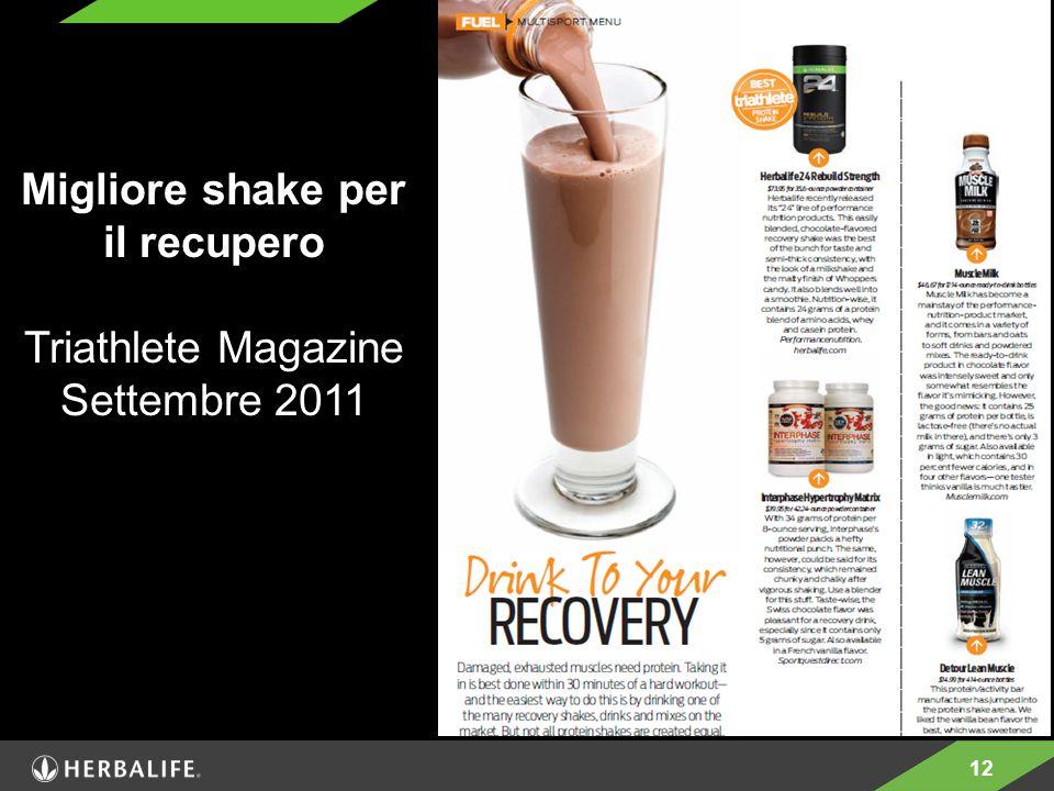 12 Migliore shake per il recupero Triathlete Magazine Settembre 2011