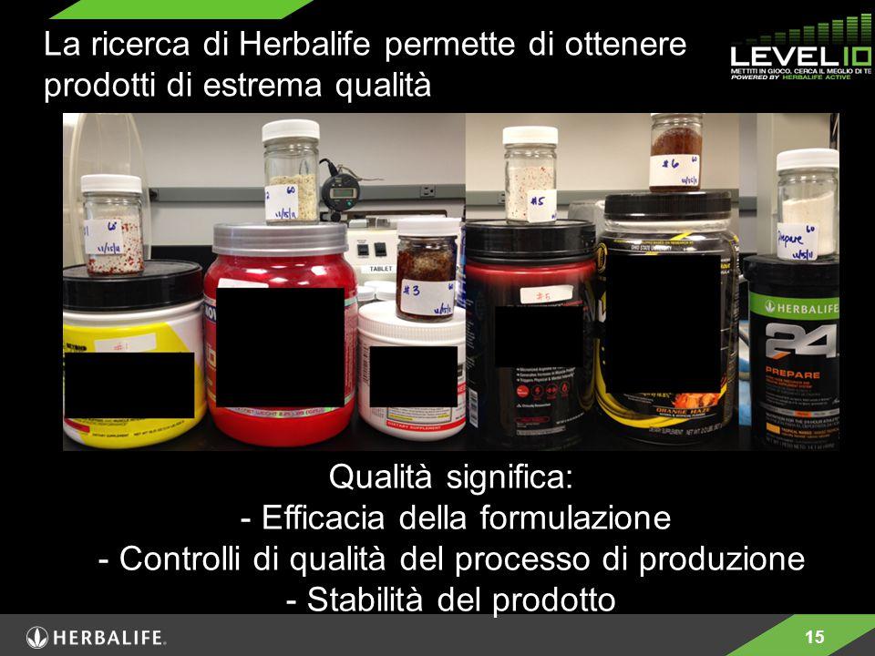 15 La ricerca di Herbalife permette di ottenere prodotti di estrema qualità Qualità significa: - Efficacia della formulazione - Controlli di qualità del processo di produzione - Stabilità del prodotto