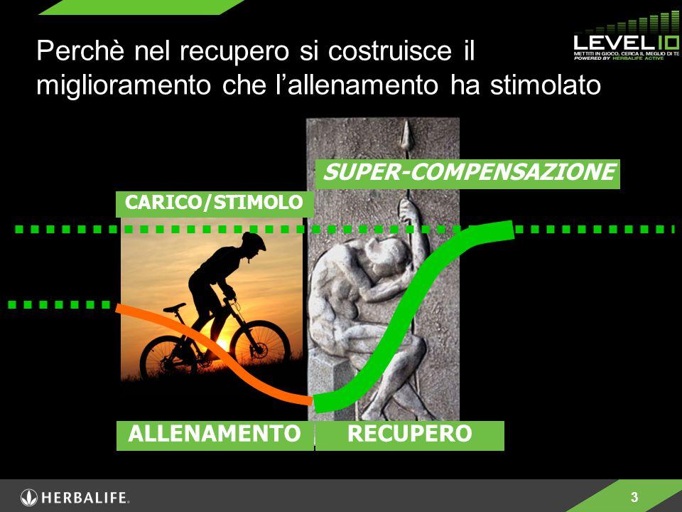 3 SUPER-COMPENSAZIONE CARICO/STIMOLO ALLENAMENTORECUPERO Perchè nel recupero si costruisce il miglioramento che l'allenamento ha stimolato