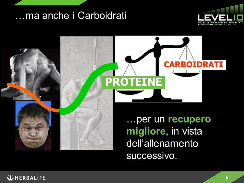 5 …per un recupero migliore, in vista dell'allenamento successivo. PROTEINE …ma anche i Carboidrati CARBOIDRATI