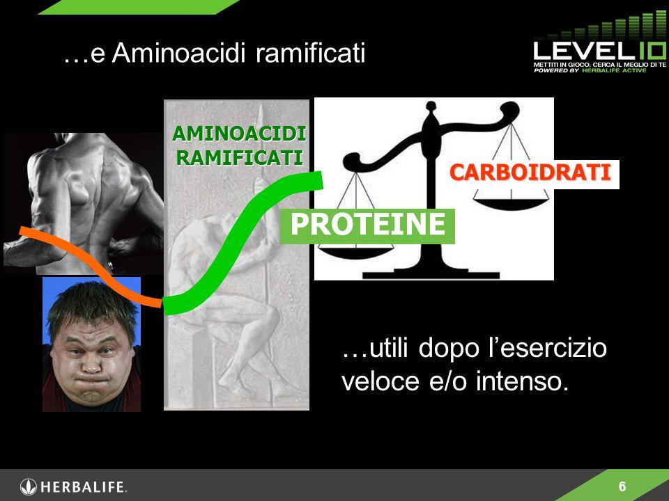6 …utili dopo l'esercizio veloce e/o intenso. …e Aminoacidi ramificati AMINOACIDI RAMIFICATI PROTEINE CARBOIDRATI