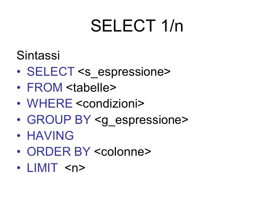 SELECT 1/n Sintassi SELECT FROM WHERE GROUP BY HAVING ORDER BY LIMIT